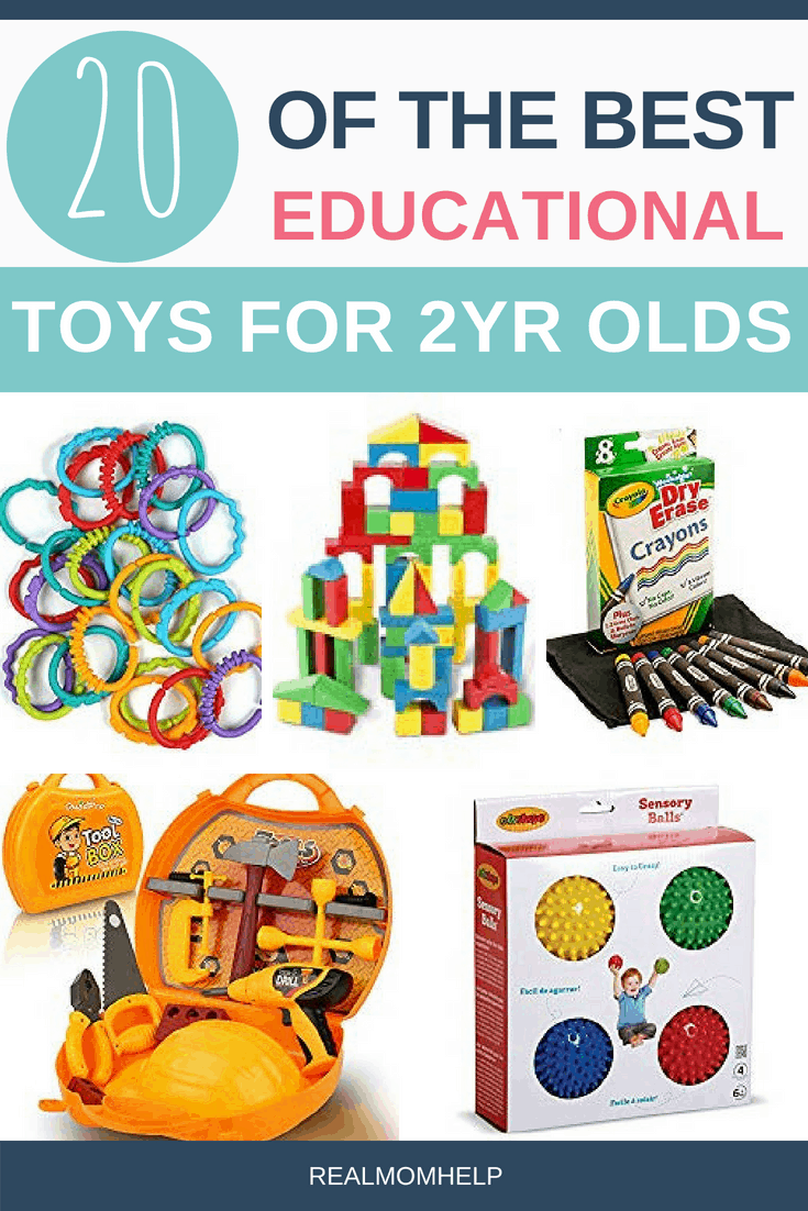 crayons, tool set, balls, building blocks and plastic link as some of the best educational toys for 2 year olds