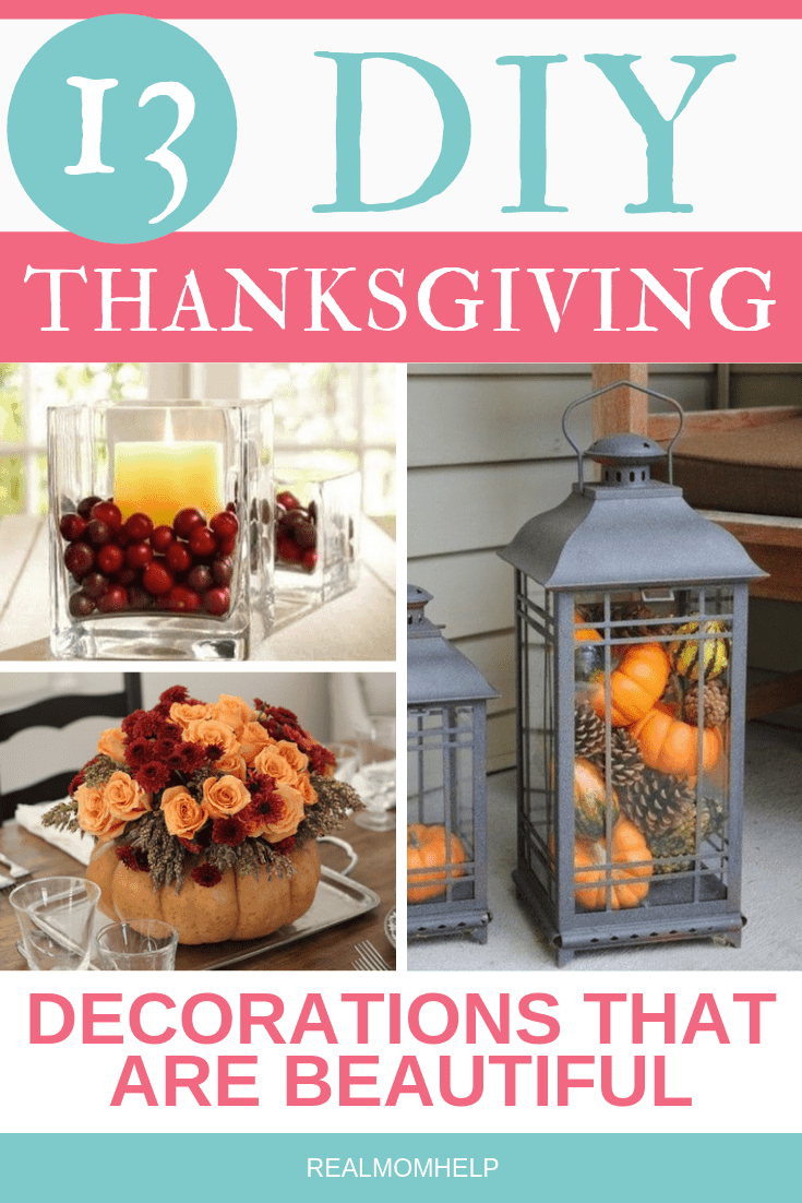 thanksgiving decoration, lantern filled with pumpkins, gladdest jar filled with cranberries and candle, pumpkin vase with flowers