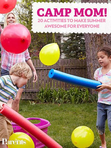 party games kids, birthday party, move balloons with pool noodle