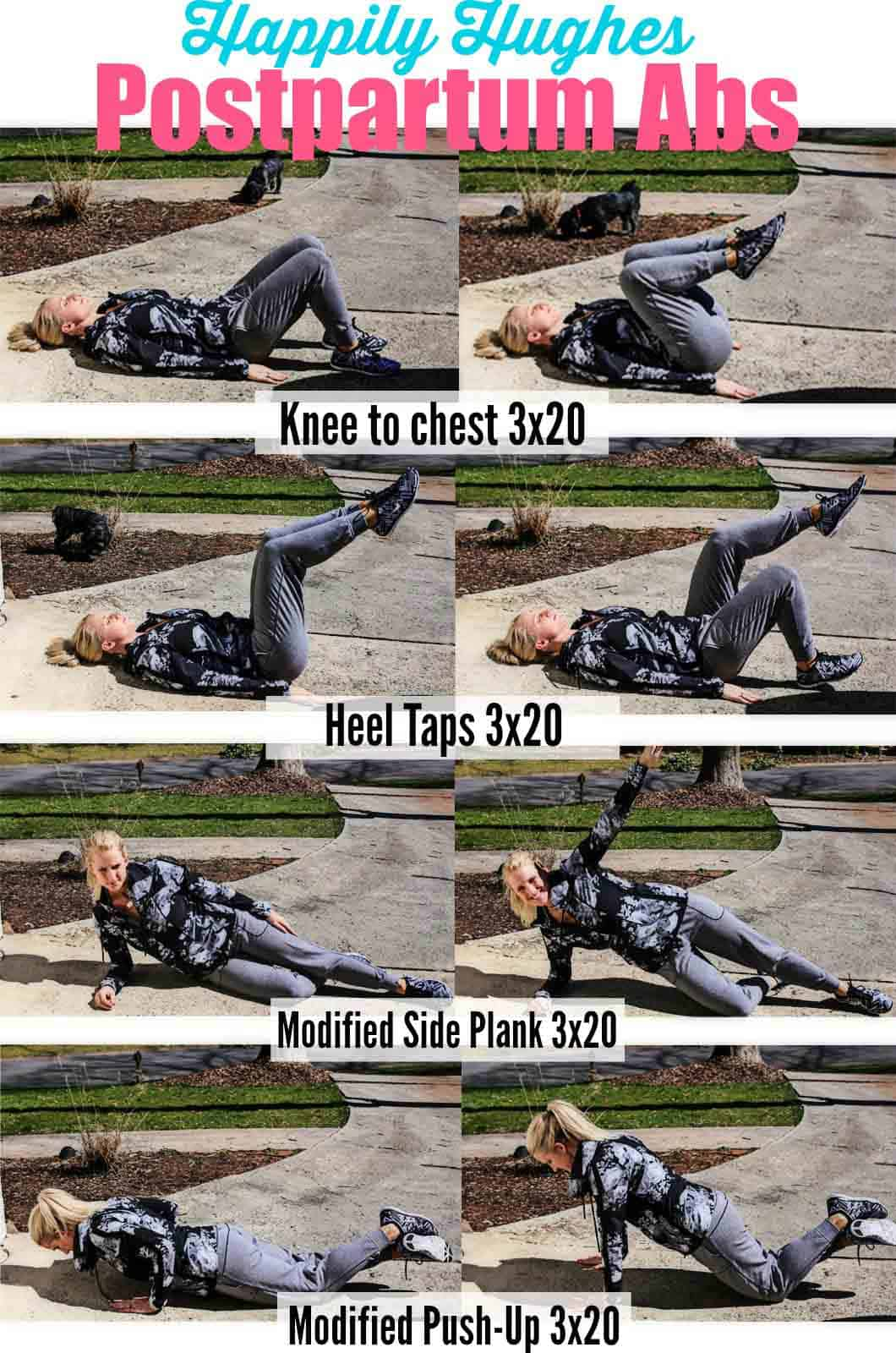 postpartum workouts, woman in grey exercise clothes showing postpartum workout routine