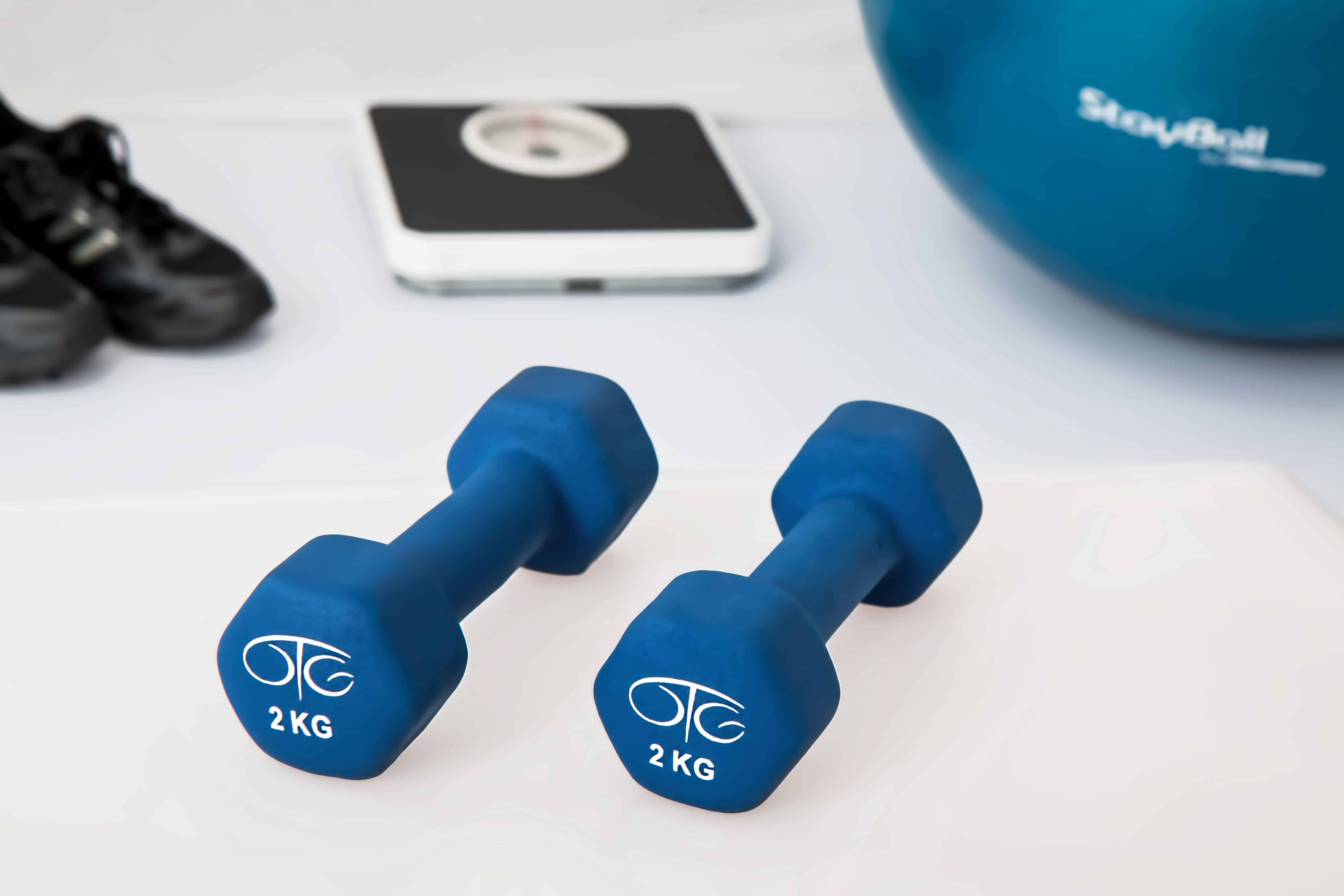 dumbells, scale, tennis shoes and a stability ball, postpartum workouts
