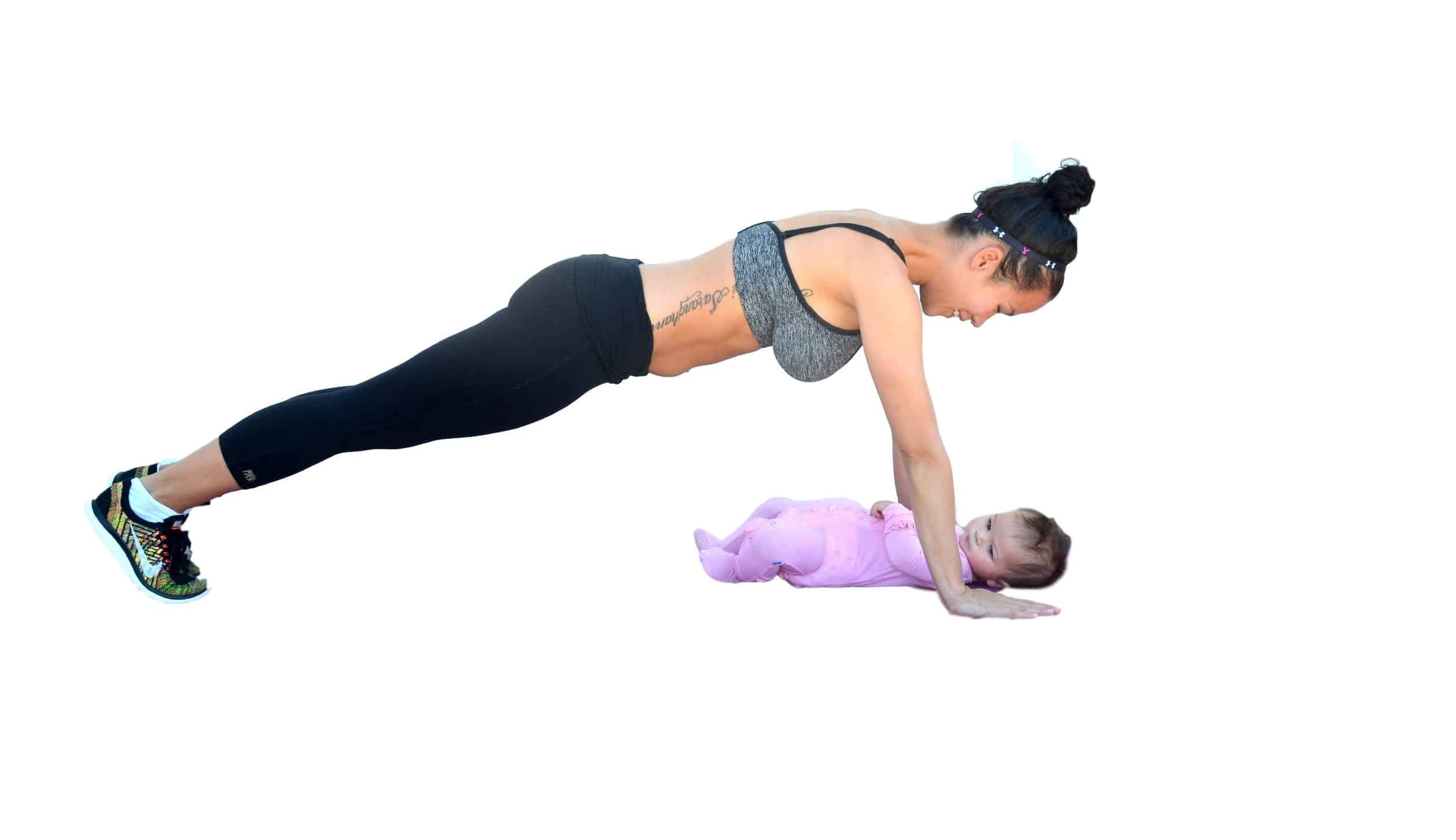 postpartum workouts, mom working out with baby