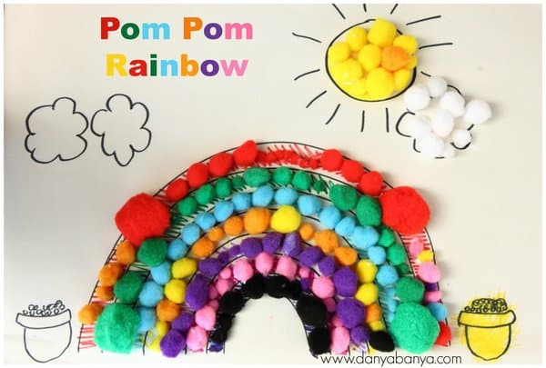 rainbow made of pompoms
