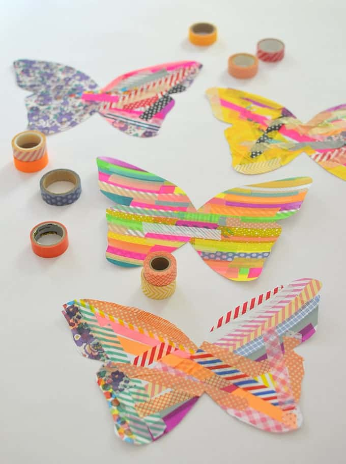 butterflies made of paper and tape