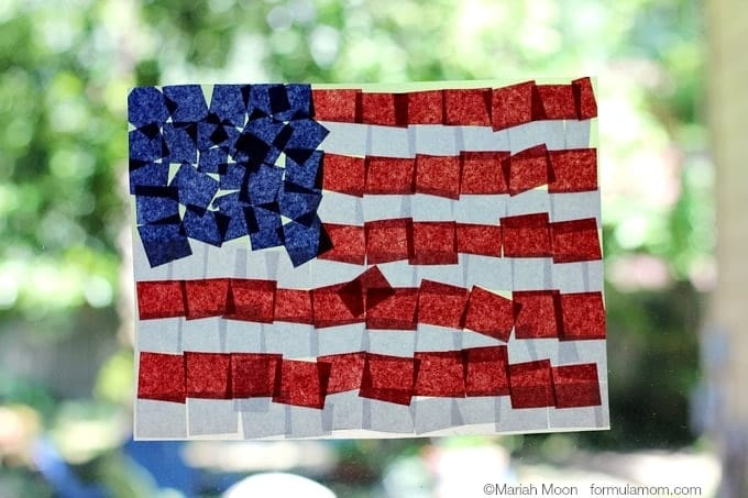 American flag made out of tissue paper