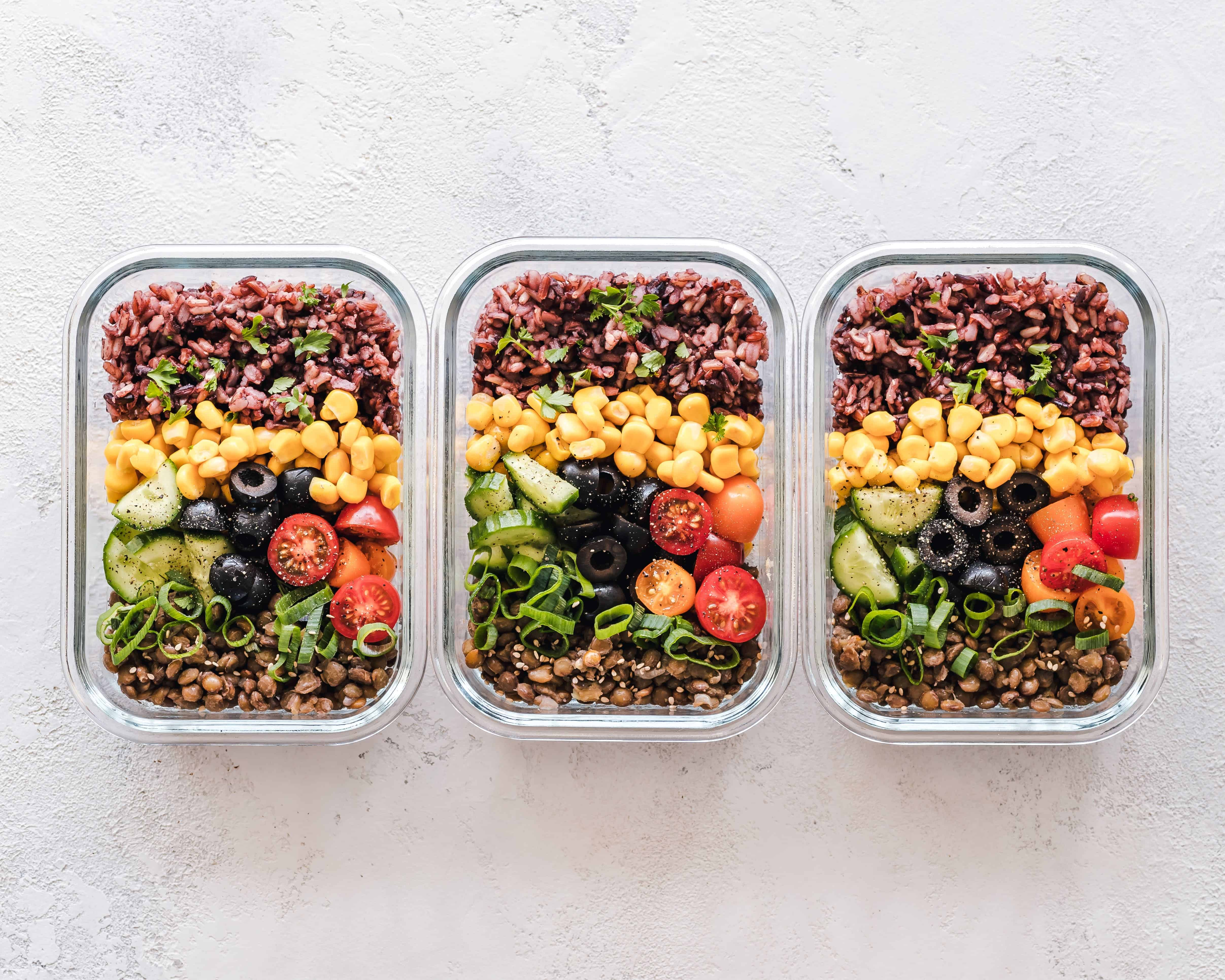 three bowls of food for meal planning