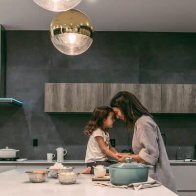 mom and little girl in the kitchen, meal planning
