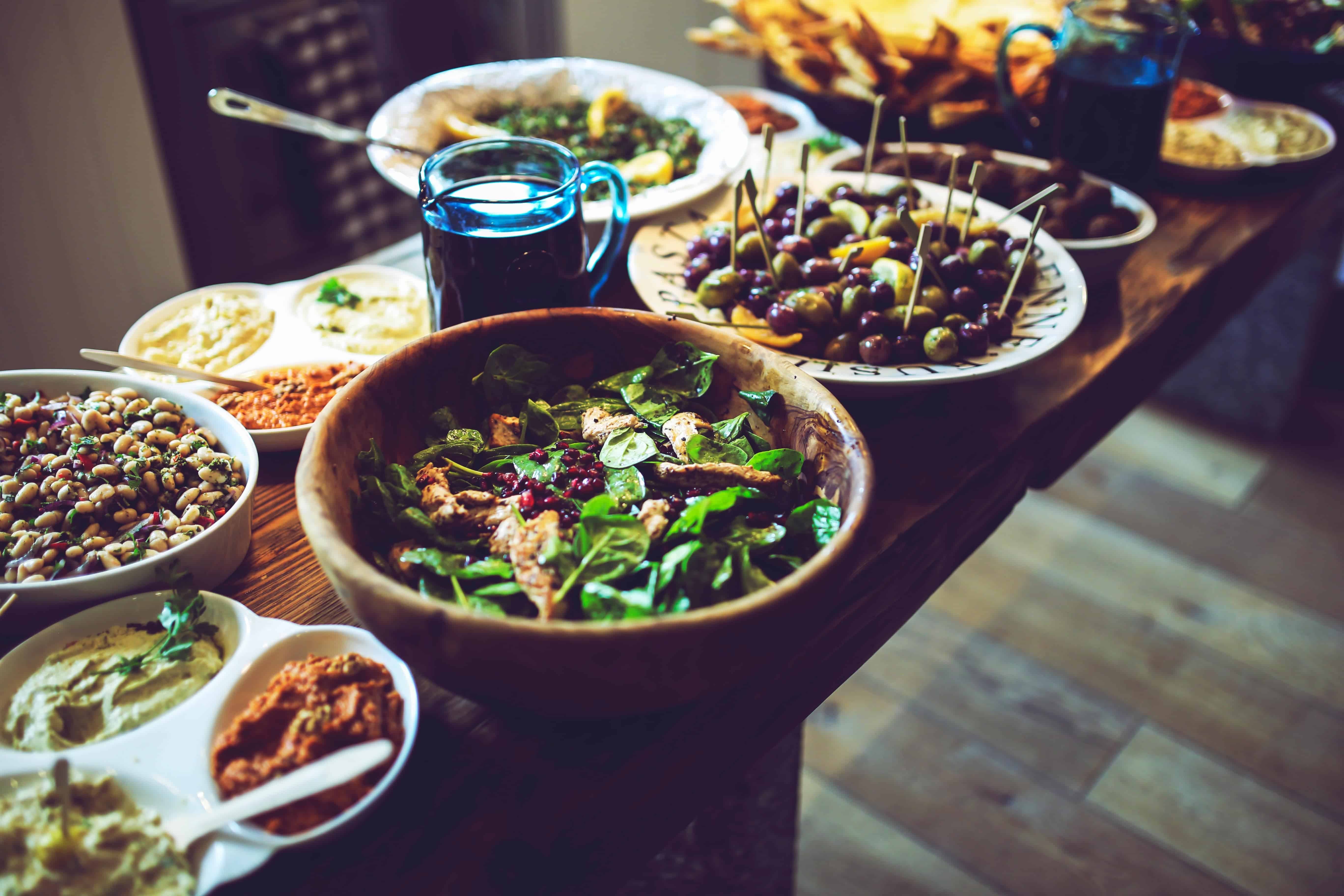 table full of food, meal planning